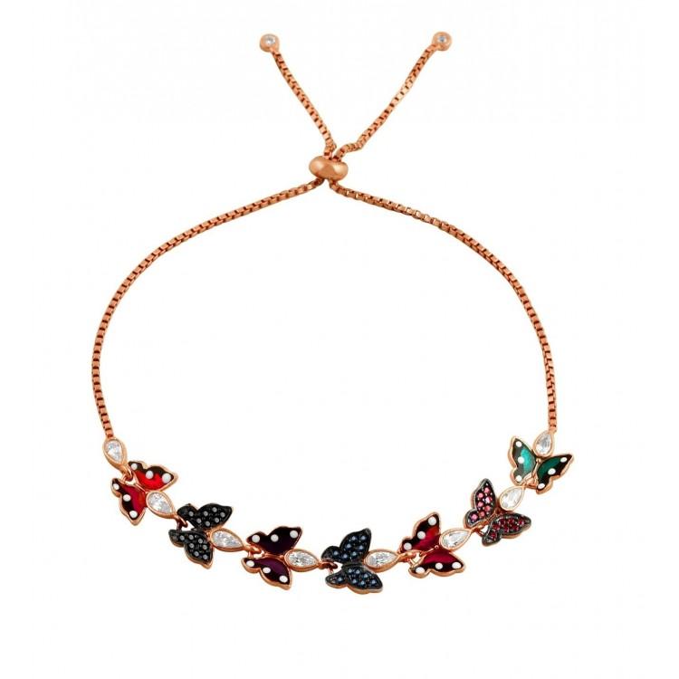 Kelebekler Mineli Bileklik -S- _rose