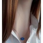 Koyu Mavi Fil Resin Taş Kolye _rose